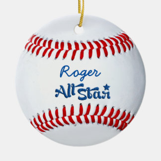 Personalized Baseball Player Gift Double-Sided Ceramic Round Christmas Ornament
