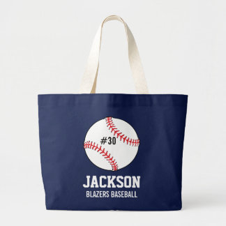 Personalized Baseball Player's Name Number Team Large Tote Bag