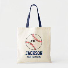 Personalized Baseball Player's Name Team Number Tote Bag at Zazzle