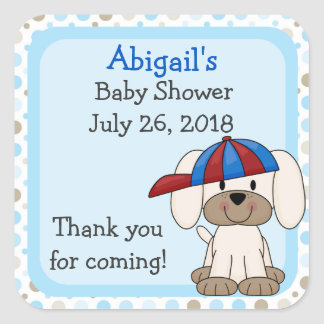 Personalized Baseball Puppy Baby Shower Stickers