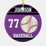 Personalized Baseball | Purple and Black Christmas Ornament