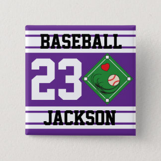 Personalized Baseball Purple Design Button
