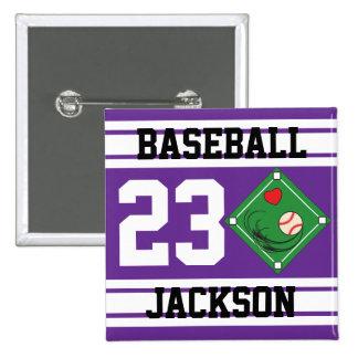 Personalized Baseball Purple Design Button