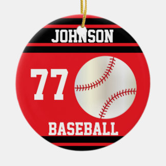 Personalized Baseball | Red and Black Ceramic Ornament