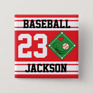 Personalized Baseball Red Design Button