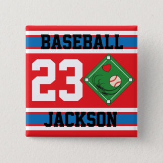 Personalized Baseball Red, White and Blue Design Button