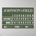 """Personalized Baseball Scoreboard -36"""" x 24"""" Posters"""