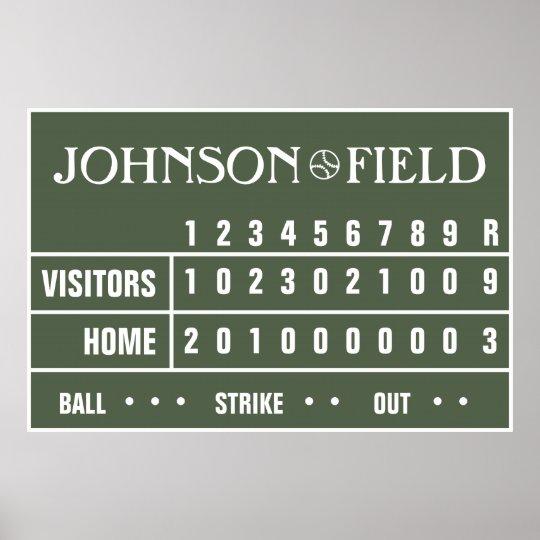 """Personalized Baseball Scoreboard - 60"""" x 40"""" Poster"""