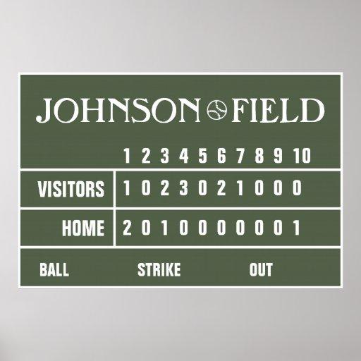 """Personalized Baseball Scoreboard - 60"""" x 40"""" Print"""