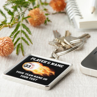 Personalized Baseball Senior Gifts Flaming Ball Silver-Colored Square Keychain