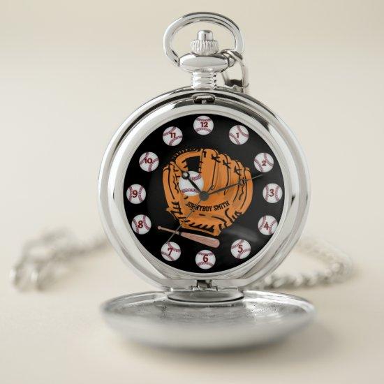 Personalized baseball silver pocket watch