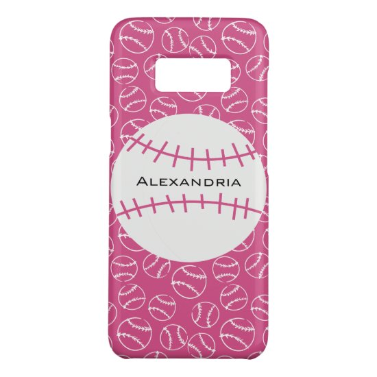 Personalized Baseball Softball Pattern on Pink Case-Mate Samsung Galaxy S8 Case