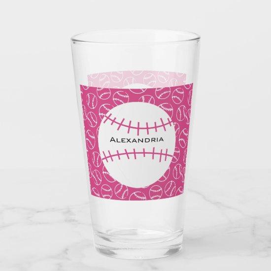 Personalized Baseball Softball Pattern on Pink Glas