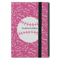 Personalized Baseball Softball Pattern on Pink iPad Mini Case
