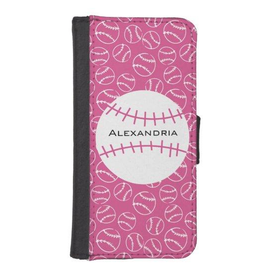 Personalized Baseball Softball Pattern on Pink iPhone SE/5/5s Wallet