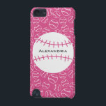 "Personalized Baseball Softball Pattern on Pink iPod Touch 5G Cover<br><div class=""desc"">For the baseball or softball fan, a fun and girly design featuring a baseball softball with pink stitching with customizable text for the name or initials of the baseball player on a background pattern featuring a white outline of softballs on a pink background. Available in other colors and we welcome...</div>"