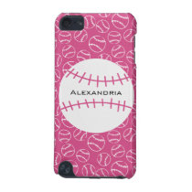 Personalized Baseball Softball Pattern on Pink iPod Touch 5G Cover