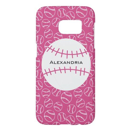 Personalized Baseball Softball Pattern on Pink Samsung Galaxy S7 Case