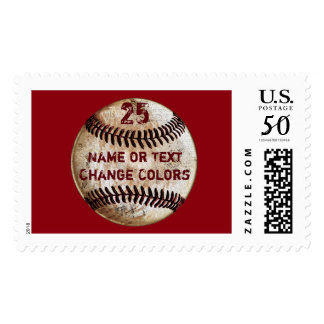 Personalized Baseball Stamps, Your Text and Colors Postage