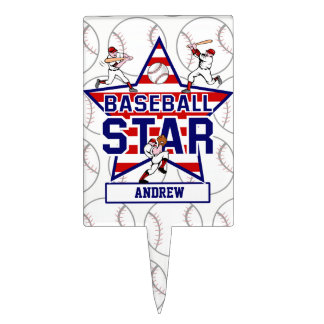 Personalized Baseball Star and stripes Cake Topper