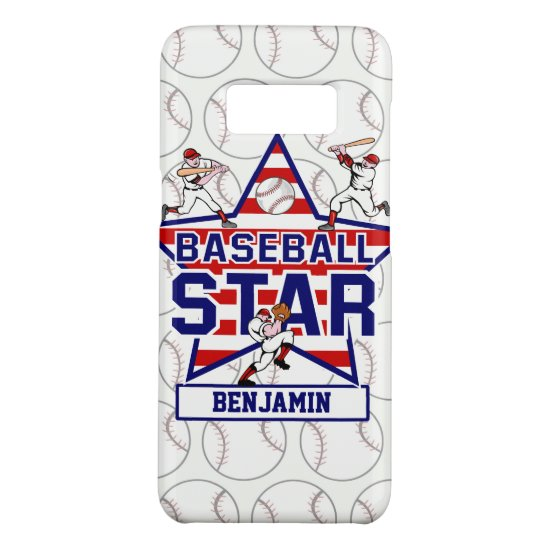 Personalized Baseball Star and Stripes Case-Mate Samsung Galaxy S8 Case