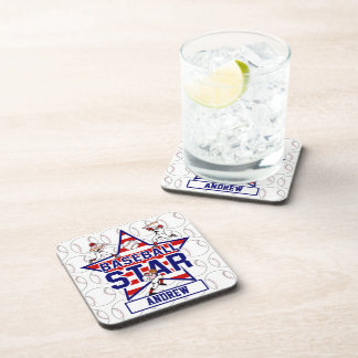Personalized Baseball Star and stripes Drink Coaster