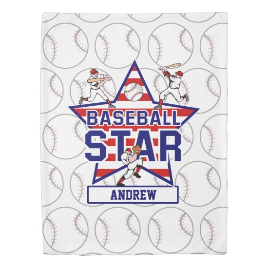 Personalized Baseball Star and stripes Duvet Cover