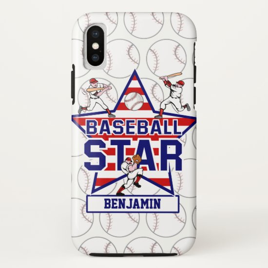 Personalized Baseball Star and Stripes iPhone X Case