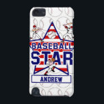 "Personalized Baseball Star and stripes iPod Touch 5G Cover<br><div class=""desc"">Cute Baseball design featuring a stars and stripes background with two baseball batters and one pitcher customizable with your own name to create a unique baseball gift for teh baseball fan or player. Part design with Licenced graphics from the graphics factory. Want this design in a different color combination, contact...</div>"