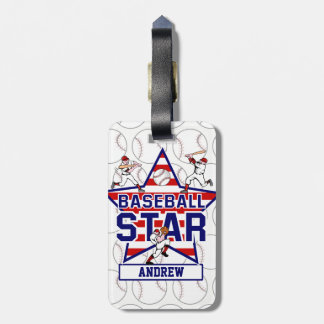 Personalized Baseball Star and stripes Luggage Tag