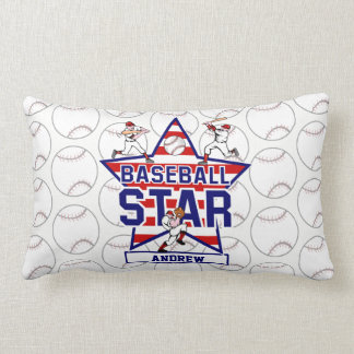 Personalized Baseball Star and stripes Lumbar Pillow