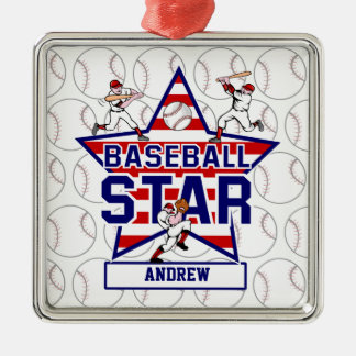 Personalized Baseball Star and stripes Metal Ornament