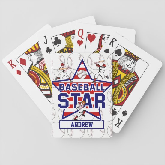 Personalized Baseball Star and stripes Playing Cards