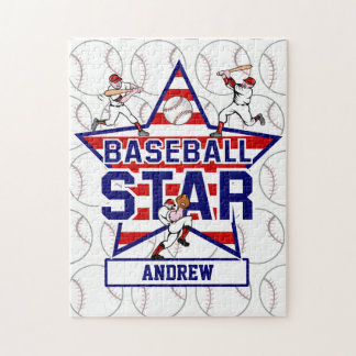 Personalized Baseball Star and stripes Puzzle