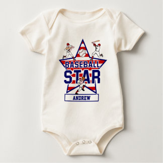 Personalized Baseball Star and stripes Romper