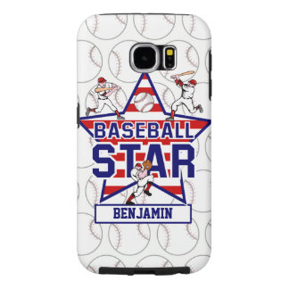 Personalized Baseball Star and Stripes Samsung Galaxy S6 Case