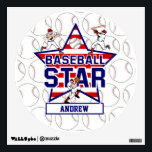 """Personalized Baseball Star and stripes Wall Decal<br><div class=""""desc"""">Cute Baseball design featuring a stars and stripes background with two baseball batters and one pitcher customizable with your own name to create a unique baseball gift for teh baseball fan or player. Part design with Licenced graphics from the graphics factory. Want this design in a different color combination, contact...</div>"""