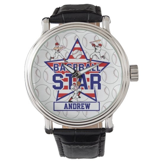 Personalized Baseball Star and stripes Watch