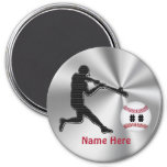 Personalized Baseball Team Gift Ideas for Kids 3 Inch Round Magnet