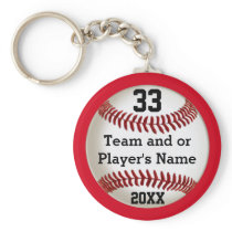 Personalized Baseball Team Gifts YOUR COLORS, TEXT Keychain