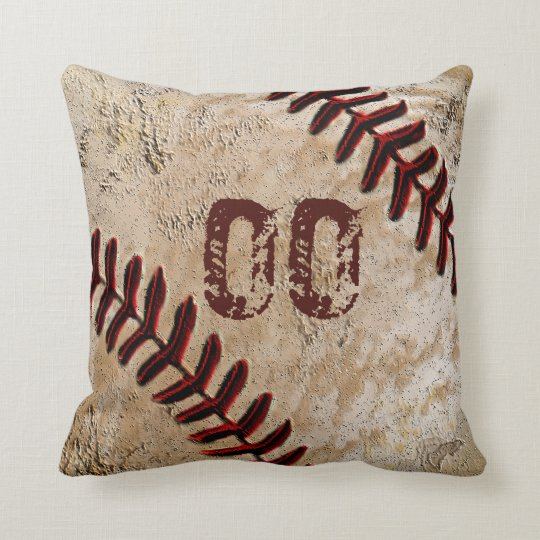 Personalized Baseball Throw Pillows Jersey Number Zazzle Com