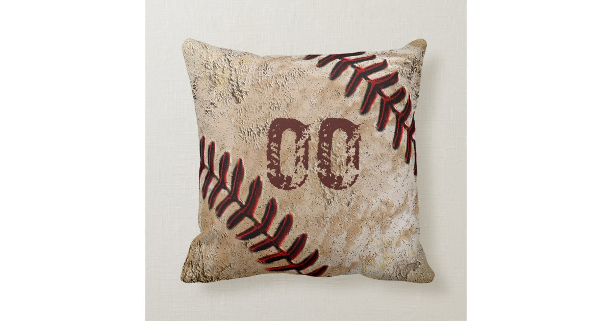 Throw Pillows With Numbers : Personalized Baseball Throw Pillows JERSEY NUMBER Zazzle