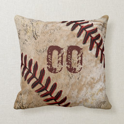 Custom Image Throw Pillows : Personalized Baseball Throw Pillows JERSEY NUMBER Zazzle