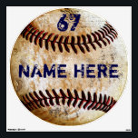 """Personalized Baseball Wall Decal, Old Vintage Look Wall Decal<br><div class=""""desc"""">Personalized Baseball Wall Decal, Old Vintage Look. Type in his Jersey NUMBER and NAME or Your Text or Delete. You, or CALL Zazzle Designer Rodney or Linda: 239-949-9090 to CHANGE the Navy Blue Text to his Baseball Bedroom Decor Colors or for personalized baseball gifts for baseball players and coaches, Change...</div>"""
