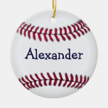 Personalized Baseball with Red Stitching Double-Sided Ceramic Round Christmas Ornament