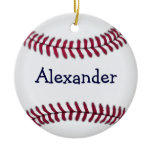 Personalized Baseball with Red Stitching Ornaments