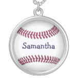 Personalized Baseball with Red Stitching Round Pendant Necklace