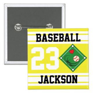 Personalized Baseball Yellow Design Pinback Button