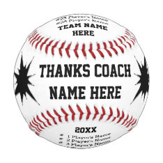 Personalized Baseballs With Coach, Player's Names at Zazzle