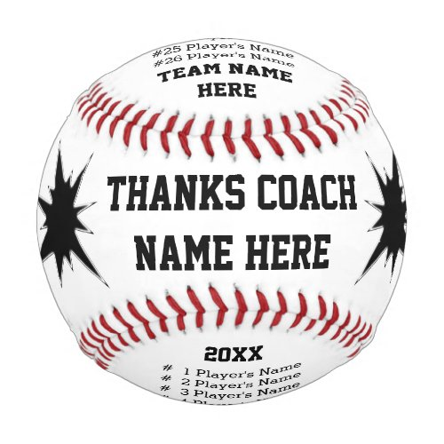 Personalized Baseballs with Coach Players NAMES